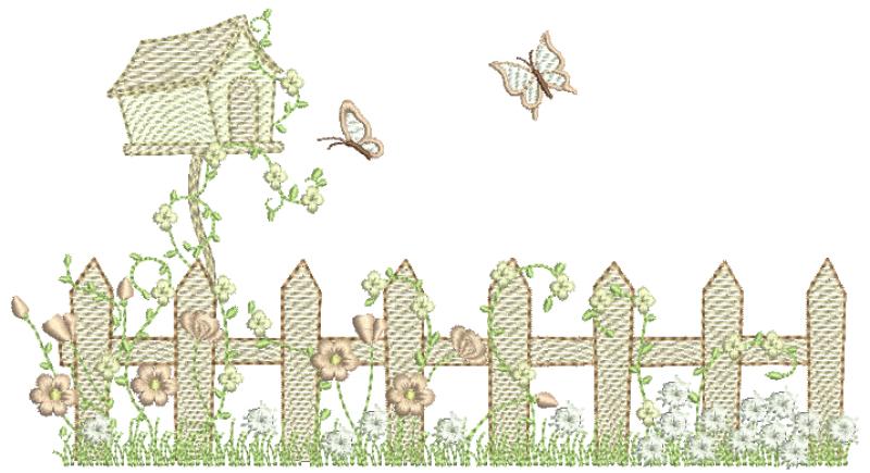 Jardim com Cerca e Casa de Passarinho - Rippled