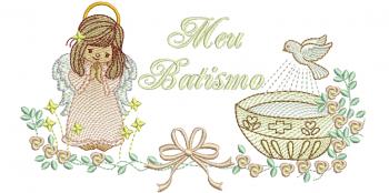Anjo para Batismo Menina com Pombo e Pia Batismal - Rippled