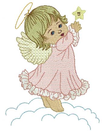 Anjo na Nuvem com Estrela - Rippled