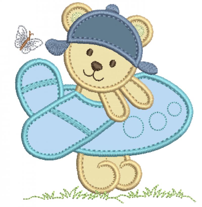 Urso com Avião - Aplique