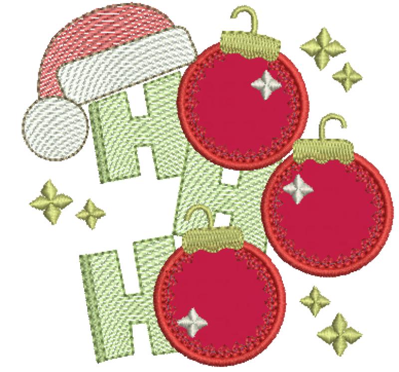 Bolas de natal HO HO HO - Aplique
