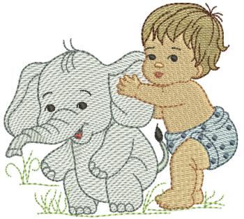 Menino com Elefante - Rippled