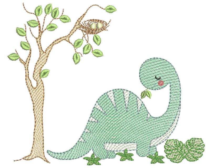 Dinossauro e Árvore - Rippled