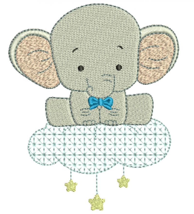 Elefante na Nuvem com Estrelas - Ponto Cheio