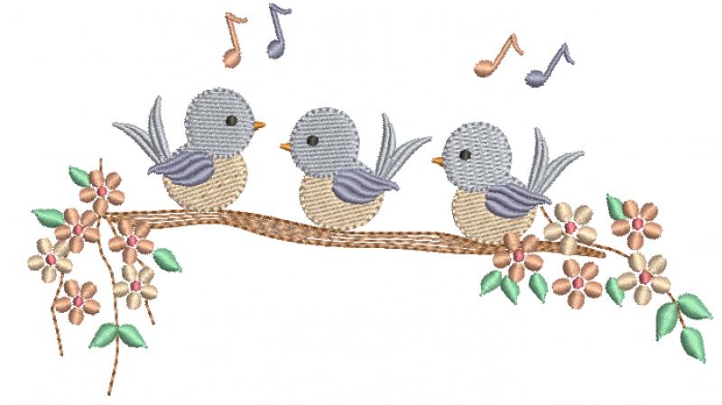 Trio de Passarinhos no Galho- Ponto Cheio