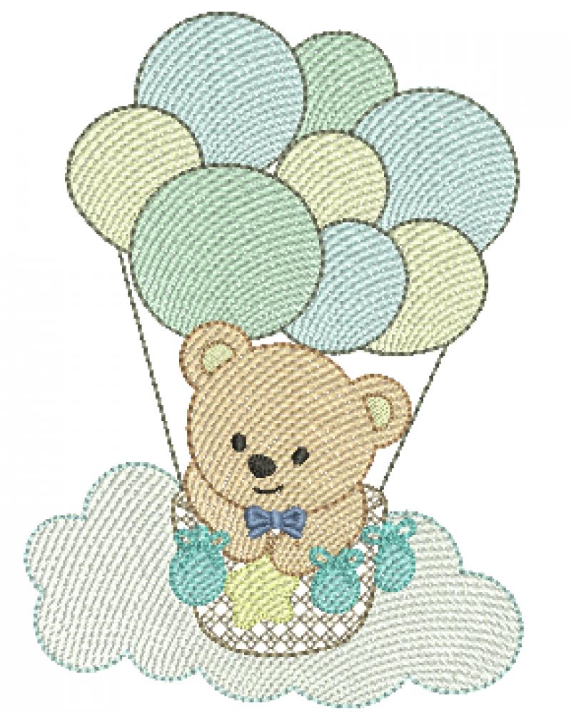 Urso no Balão de bexigas na Nuvem - Rippled
