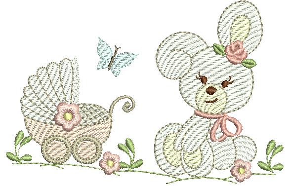 Coelha e Carrinho de Bebê - Rippled