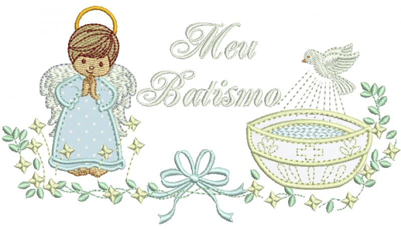 Anjo Menino Com Pia Batismal - Meu Batismo Aplique
