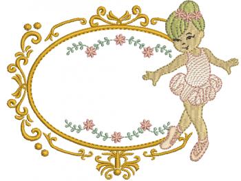 Bailarina na Moldura com Raminhos - Rippled