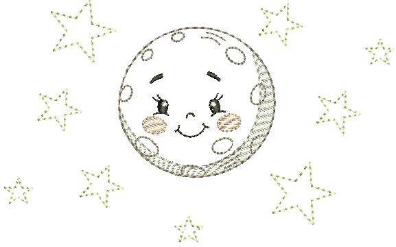 Lua Cheia Estrelinhas – Estilo Minimalista