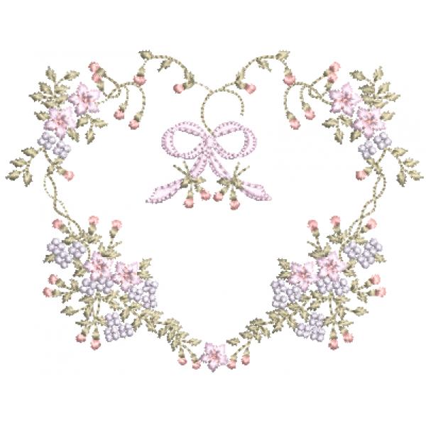 Coração e Florzinhas- Pontos Cheio