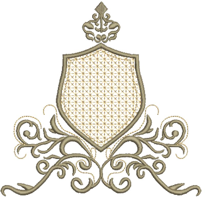 Arabescos com Moldura em Crivo e Coroa