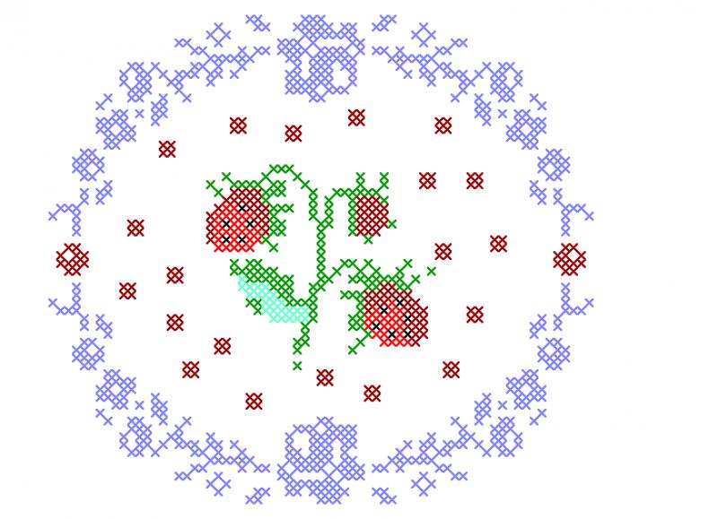 Moldura Circular com Morangos - Ponto Cruz