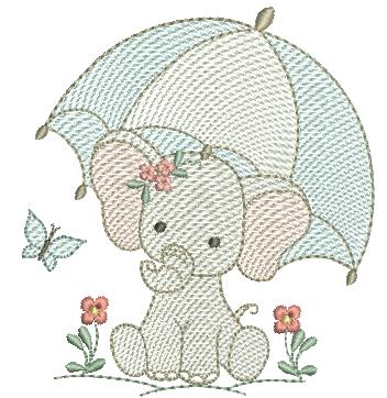Elefanta Segurando Sombrinha - Rippled
