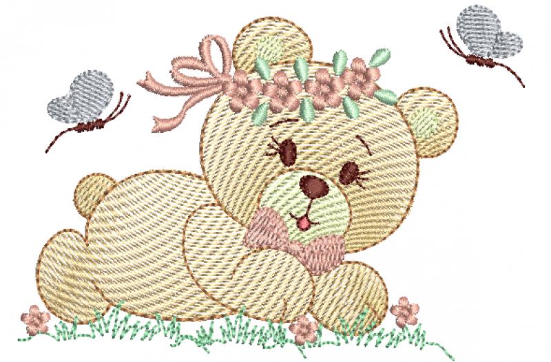 Ursa Deitada com Guirlanda de Flor - Rippled