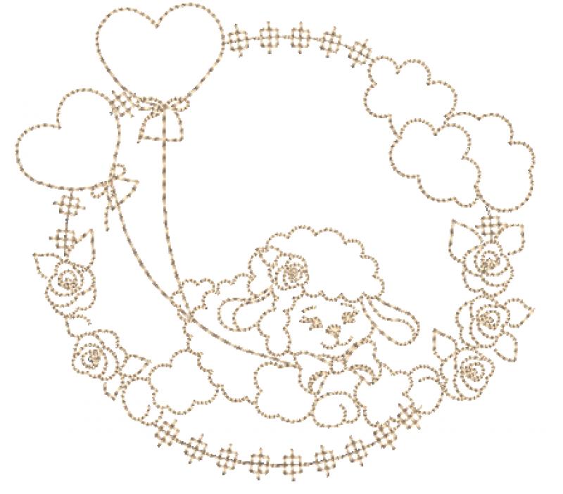 Ovelha Saltando na Moldura de Rosas e Bexigas - Ponto Corrido
