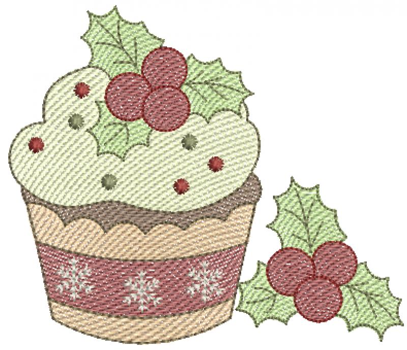 CupCake de Natal com Cereja - Rippled