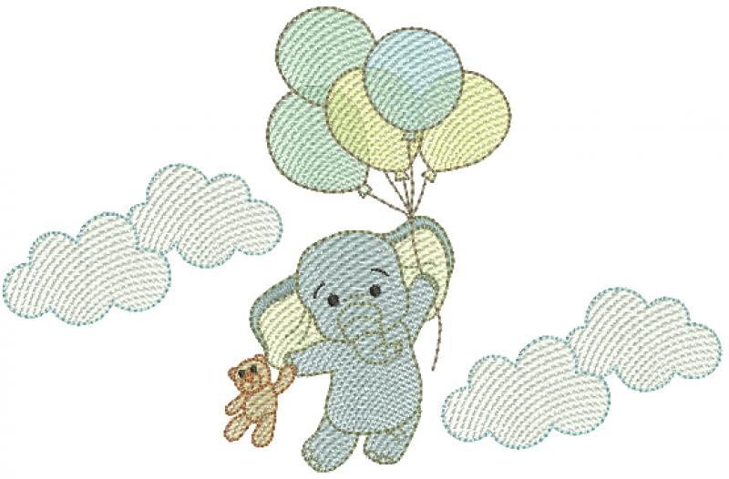 Elefante nas Nuvens Segurando Urso e Bexigas - Rippled