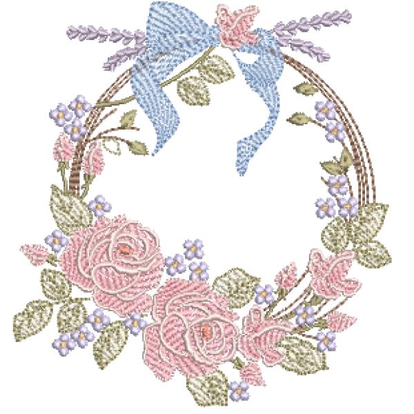 Rosas Laço e Guirlanda - Pontos Cheio