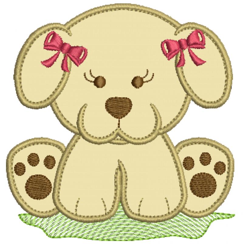 Cachorrinha Sentada com Laços - Aplique