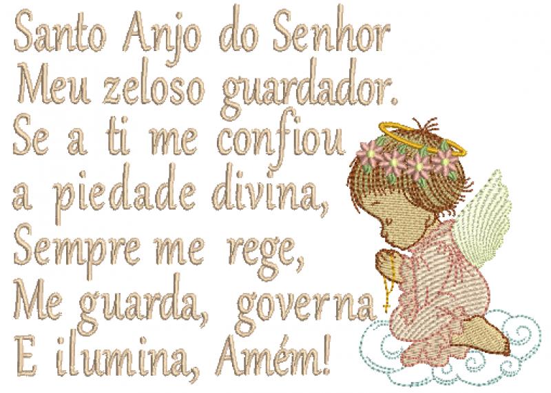 Anjo Menina Orando em Rippled com Oração Santo Anjo