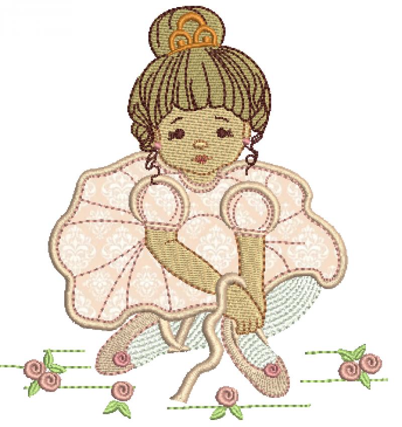 Menina Bailarina Sentada Segurando Sapatilha - Aplique
