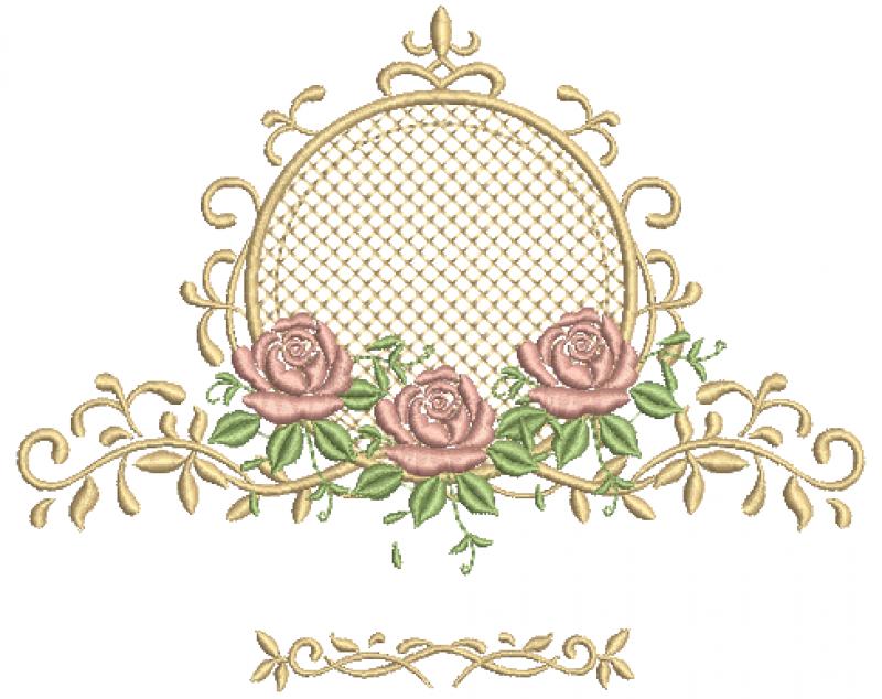 Moldura com Entremeio e Raminhos de Rosas - Com Crivo