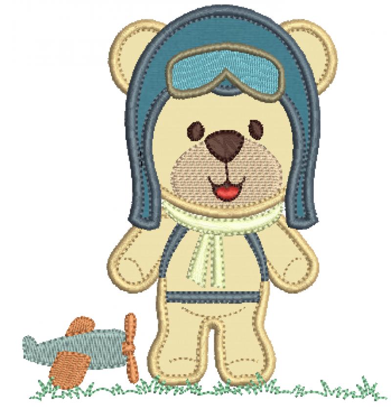 Urso Aviador com Avião no Chão - Aplique