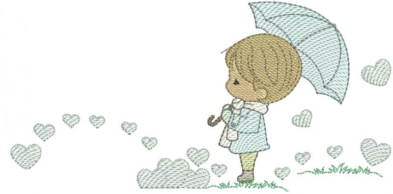 Menino com Guarda-chuva e Corações - Rippled