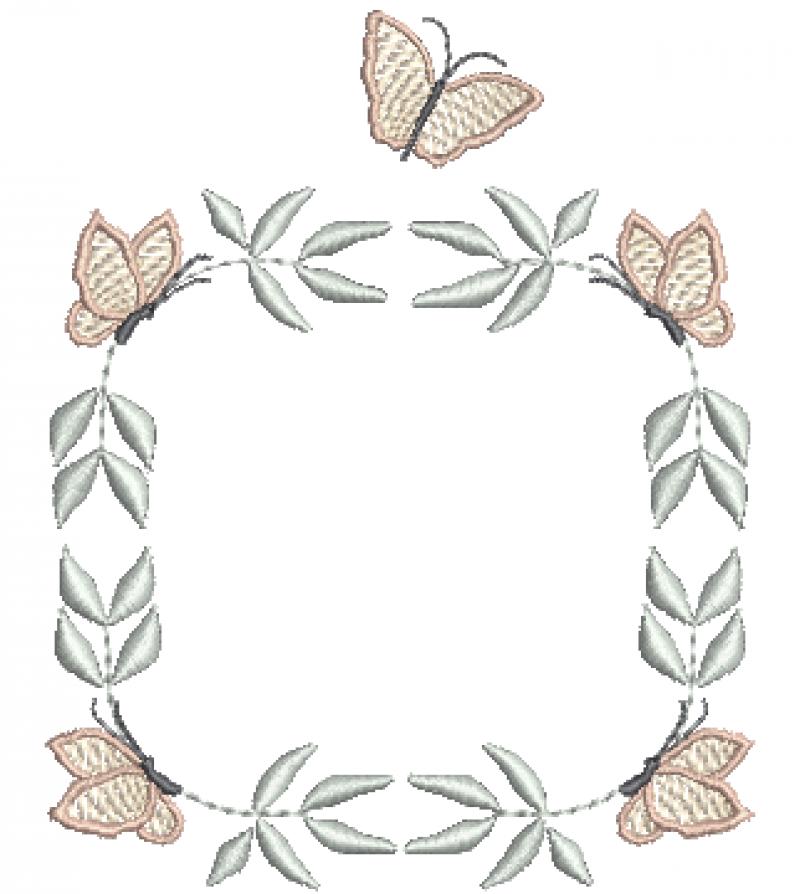 Guirlanda Quadrada de Borboletas e Flores