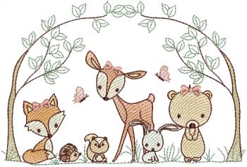 Animais na Floresta Menina - Rippled