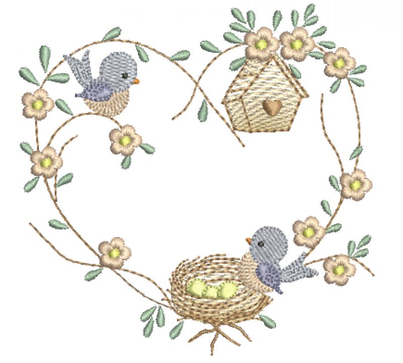 Ramo de coração com passarinhos e ninho.