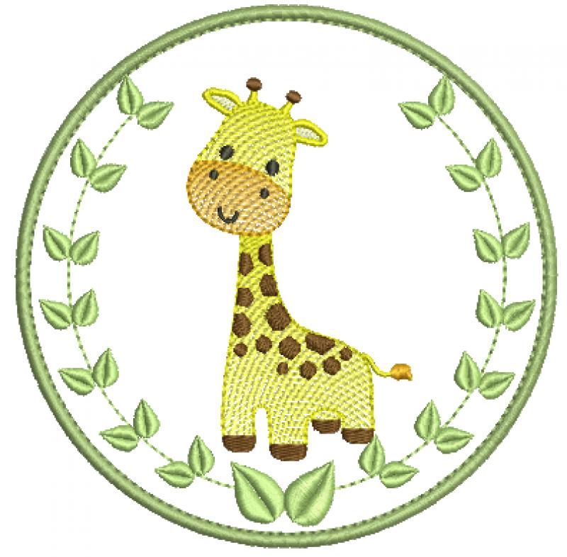 Safari em Moldura Com folha e Girafa Rippled