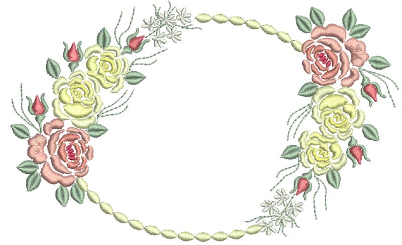 Rosas Coloridas e Moldura - Ponto Cheio