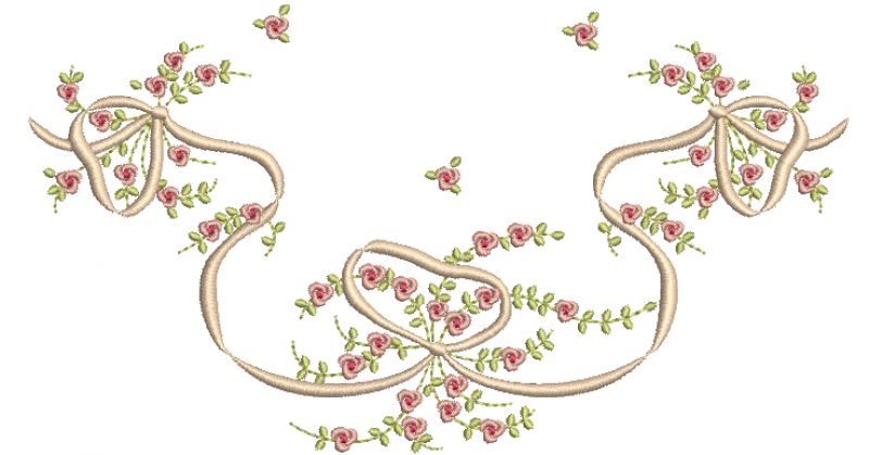 Ramo delicado com Florzinhas Rococo e Laço - ponto Cheio