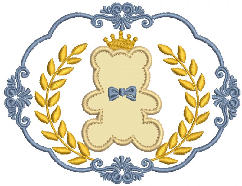 Moldura com Coroa de Louros e Ursinho - Aplique