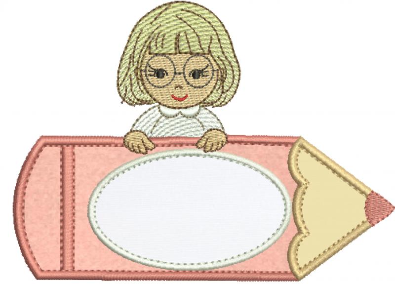 Menina no Lápis de Óculos - Aplique