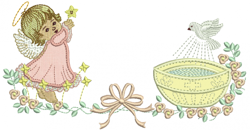 Anjo com Estrela e Pia Batismal - Aplique