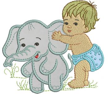 Menino com Elefante - Aplique