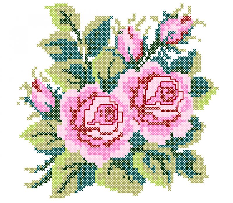 Ramo de Rosas em Ponto Cruz
