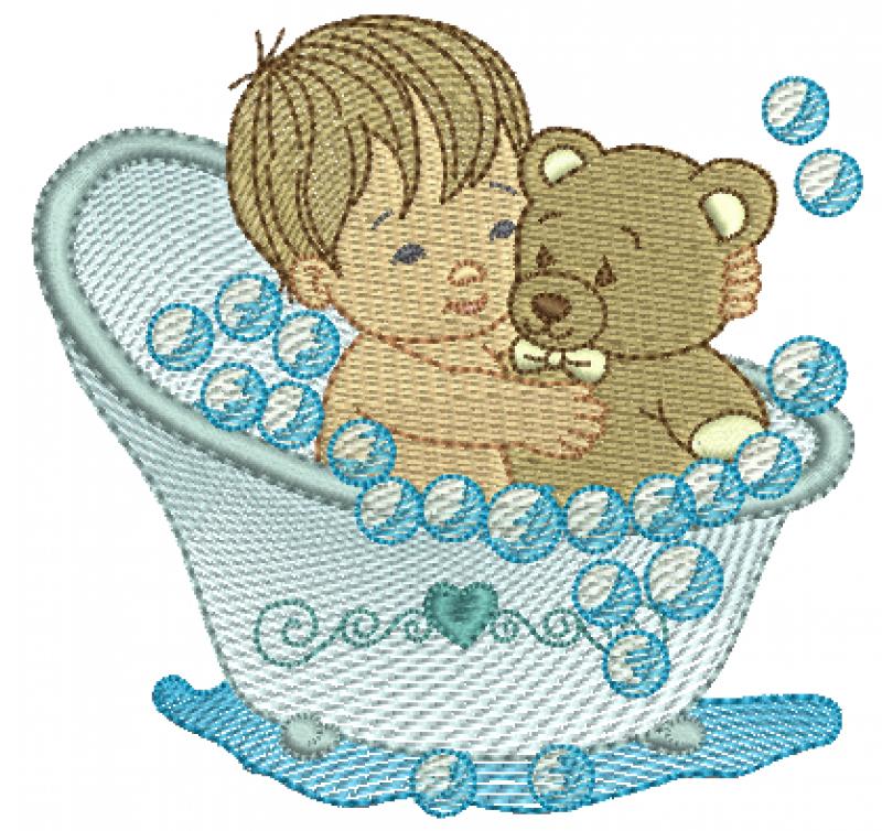 Menino na Banheira Segurando Ursinho - Rippled e Ponto Cheio