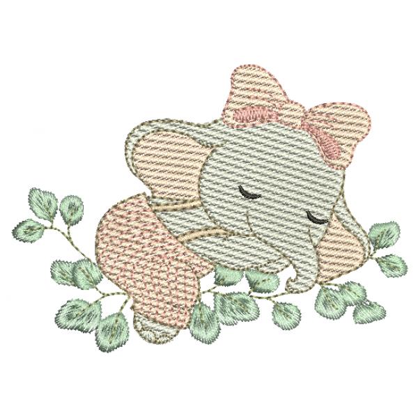 Elefanta Dormindo Folhas - Pontos Leves