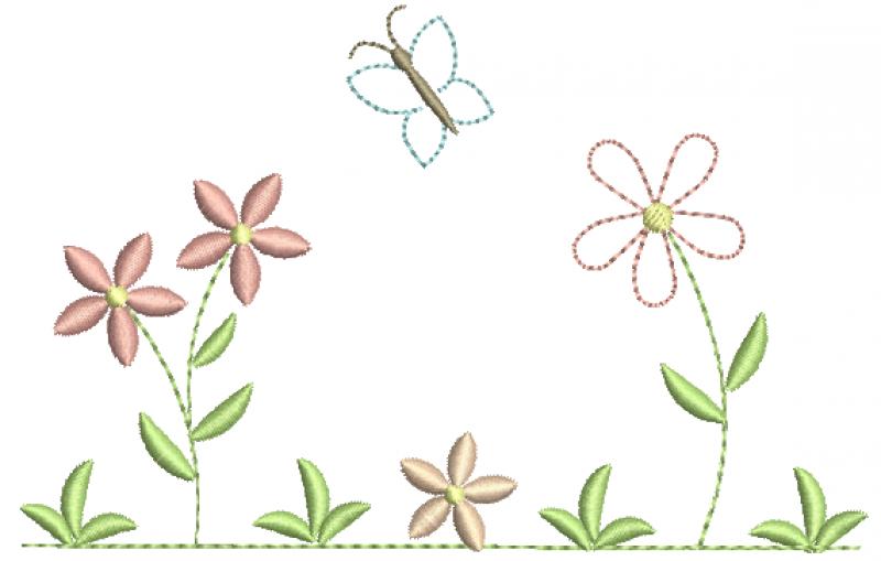 Jardim com Flores e Borboletas  - RedWork