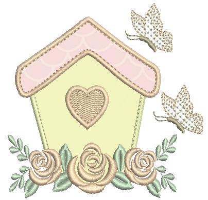 Casa com Borboleta e Rosas - Aplique