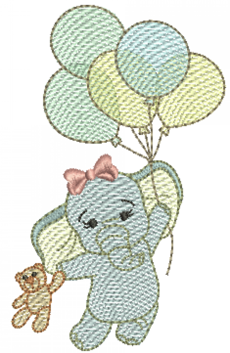 Elefanta Segurando Urso e Bexigas - Rippled
