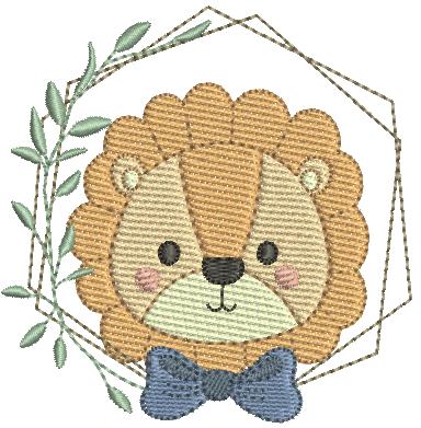 Leão com Laço e Moldura - Pontos Leves