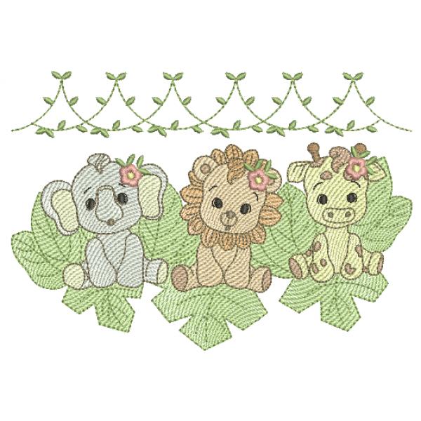 Elefante - Leão e Girafa Meninas e Folhas - Pontos Leves