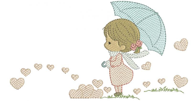 Menina com Guarda-chuva e Corações - Rippled