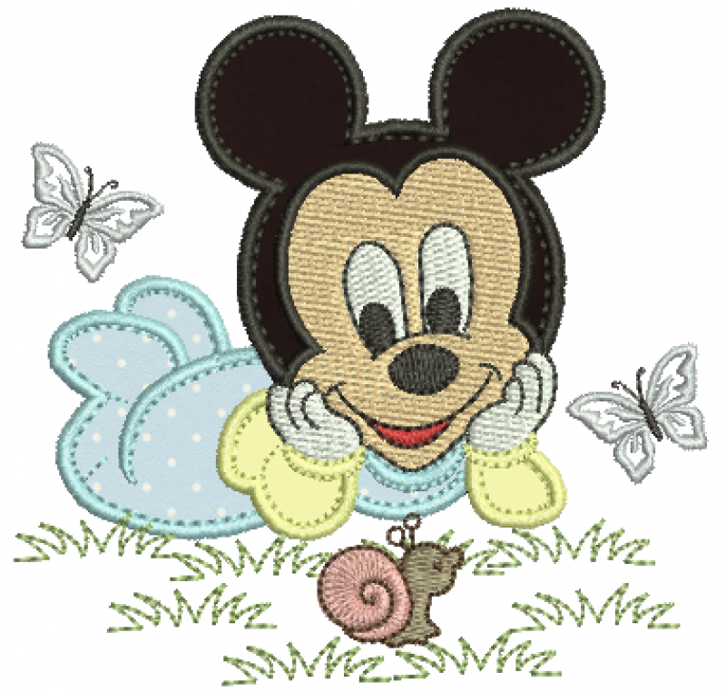 Mickey Baby Deitado Olhando para o Caracol - Aplique