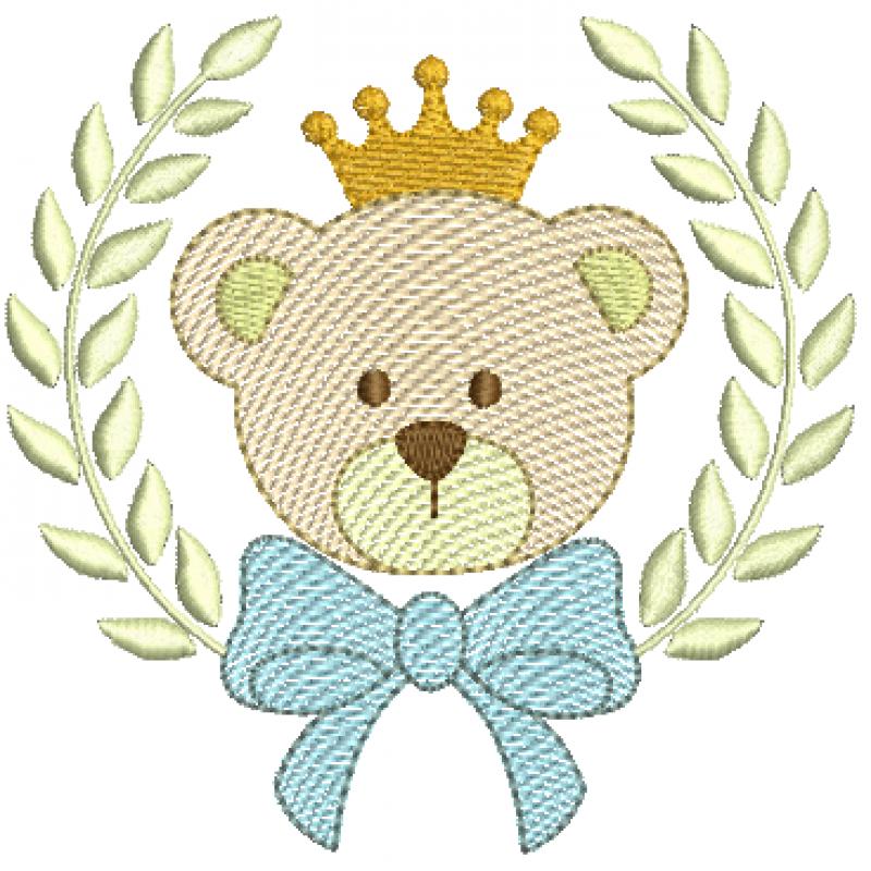 Urso com Coroa no Ramo de Louro com Laço -  Rippled
